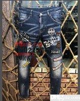ingrosso jeans caldi neri-2019 nuovi D2 Classic Black Biker Jeans Uomo Runway Biker Dritto Skinny Warm Denim Pantaloni Cowboy Famous Brand Designer lavato pantaloni da uomo s