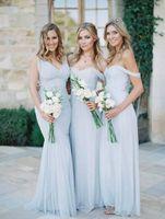 gökyüzü mavi nedime elbisesi toptan satış-2019 Yeni Plaj Gelinlik Modelleri Sky Blue Şifon Dantelli Omuz Yaz Düğün Törenlerinde Uzun Ucuz Kızlar Için Basit Elbise
