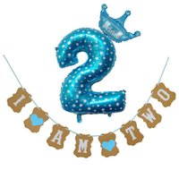 Wholesale girl birthday banners for sale - Group buy 1 Set Creative I Am two Kraft Paper Banner Years Birthday Boy Girl th Balloons Party Decorations