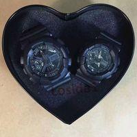 zinnmänner beobachten großhandel-Lover's Couple Luxury 2019 Uhren Ein Paar Shock Uhren mit Sammeln Tin Box Mann Frauen Damen G Style Sport Valentinstag Gegenwart Stunde