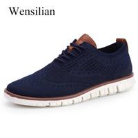 erkekler sığ ayakkabıları toptan satış-Sneakers Erkekler Rahat Ayakkabılar Örme Hava Örgü Ayakkabı Katı Sığ Dantel Kadar Hafif Erkek Ayakkabı Flats Zapatillas Hombre