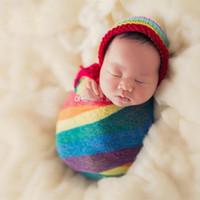 neugeborene wickeltücher großhandel-3 Farben Regenbogen Mohair Wrap Neugeborenen Stretch Swaddling Fotografie Requisiten Säuglingsdecke Weiche Foto Requisiten Decken Für 0-2 Mt Baby C6191 L