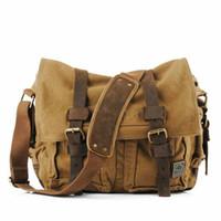 14 moda dizüstü bilgisayar çantası toptan satış-2018 Moda Bağbozumu Tuval erkek kadın Sırt Çantası Seyahat Satchel Messenger Dizüstü Omuz Çantası 14