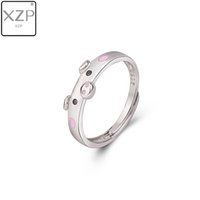 Wholesale piggy jewelry for sale - Group buy XZP S925 Cute Pink Enamel Pig Rings Popular Lucky Piggy Animal Couple Opening Ring Women Man Jewelry Lover Gift Adjustable