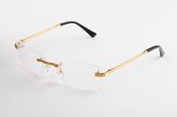 óculos retangulares venda por atacado-Limpar Lens Óculos Sem Aro Moldura De Metal Óculos De Sol Retângulo Eyewear Várias Escolha Para O Homem Unisex de Alta Qualidade Com Caixa E Caixa