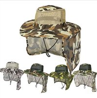 Wholesale jungle camouflage hats resale online - Boonie Hats Outdoor Camouflage Caps Sport leaf Jungle Military Cap Fishing Hats Sun Screen Gauze Cap Cowboy Packable Army Bucket Hat DYP120