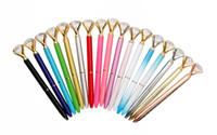 cam kalem hediye toptan satış-2018 Üst Moda Büyük Kristal Cam Elmas Ile Elmas Tükenmez Kalem lüks kalem Yaratıcı Okul Ofis Malzemeleri Yılbaşı hediyeleri