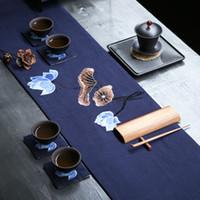 ingrosso runner bambù-Handmade Zen stile neoclassico e nuovo cinese Table Flag Plum Blossom Orchid Bamboo Lotus Runner