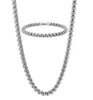 pulseira de rolo venda por atacado-5mm Rolo Cadeia Colar + Pulseira Mens Jóias Set Cable Link Aço Inoxidável Conjunto de Jóias de Prata para Homens