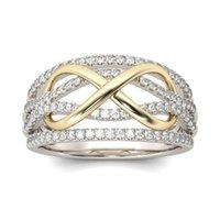 elmas sonsuzluğu toptan satış-Kadınlara 080.493 fot Kristal Altın Infinity Yüzük Kontrast Renk Elmas yüzük Moda Nişan Alyans Moda Takı hediye