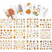 ingrosso autoadesivo foglia d'acero-Adesivo per unghie Manicure Watermark Sticker Maple Leaf Pumpkin Autumn Color Series