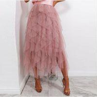 tutu faldas hasta los tobillos al por mayor-Moda volantes escalones tobillo longitud mujeres tul faldas 2019 polvoriento rosa de tul falda de tul cremallera por encargo tutu maxi faldas