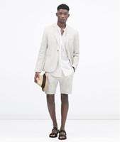 Wholesale pleated pants suits for men for sale - Group buy Latest Coat Pant Designs White Casual Linen Suit For Men Custom Summer Short Pants Slim Fit Beach Piece Terno Jacket Pants