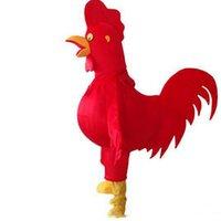 mascote de galinha adultos venda por atacado-2019 Alta qualidade red chicken Mascot Costume para Adulto Fancy Dress Party Halloween galo Traje frete grátis