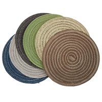 Wholesale make coasters resale online - 18cm Dining Table Heat Insulation Mat Round Placemats Hand Made Linen Table Mats Drink Coasters Kitchen Decoration