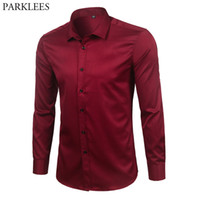 Wholesale mens elastic shirt resale online - Brand Wine Red Bamboo Fiber Mens Dress Shirts Slim Fit Long Sleeve Chemise Homme Casual Button Down Elastic Formal Male