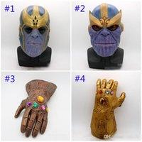 erwachsene spielzeug latex großhandel-Avengers 4 Endgame Thanos Maske und Handschuhe 2018 Neue Kinder Erwachsene Halloween Cosplay Naturlatex Infinity Gauntlet Toys