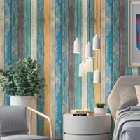 muebles de dormitorio vintage al por mayor-Papel pintado autoadhesivo de madera moderno vintage para muebles de sala de estar Dormitorio Wals Impermeable Rollo de pared Papel de contacto