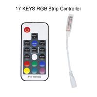 llave del controlador remoto de la pc al por mayor-Mini RF Colorido Colorido 17 teclas control remoto Puerto USB RGB LED tira de luz controlador para PC de TV