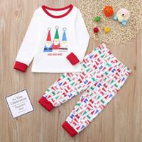 ingrosso pigiama di natale della famiglia unisex-Set di vestiti per bambini di Natale Cartone animato di Babbo Natale Stampa Top + Pantaloni Vestiti di famiglia Pigiama Baby Boys Set di Natale