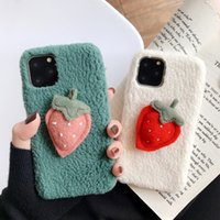Wholesale soft case strawberry online – custom Autumn and winter plush strawberry flower phone case for xsmax case plus soft case