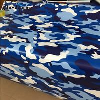 voiture couleur armée achat en gros de-Bleu Blanc Camo Vinyle Air Army Camouflage Imprimé Mat Fini Scooter Voiture Moto Emballage Vinyle Rouleau Feuille