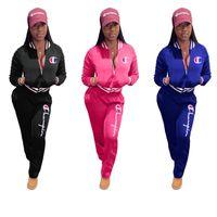 agasalho de beisebol venda por atacado-Campeão Mulheres Treino Com Zíper Casaco Jaqueta Calças Leggings 2 Peça Set Designer de Beisebol Uniforme Sweatsuit Outono Sportswear Outfit C9309