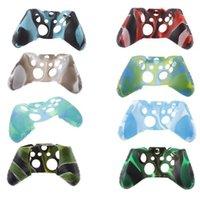 caja del controlador xbox one al por mayor-Para Xone Soft Silicone Flexible Camuflaje funda de piel de goma para Xbox One Slim Controlador Grip Cover