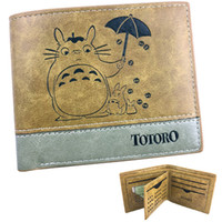 Wholesale totoro card holder for sale - Group buy Umbrella wallet Tonari no Totoro patchwork purse Khaki pu short leather cash note case Money notecase Loose change burse bag Card holders