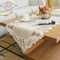 toalhas de pano de mesa de café venda por atacado-2019 Venda Pastoral Europeu Linho Cor Sólida Retangular Clássico Bordado Toalha de Mesa Toalha de Mesa de Café Toalha de Pano Corredor