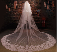Wholesale blusher veils for sale - Group buy In Stock Wedding Veil With Lace Appliques Sequins Blusher Veil Custom Made Cheap Bridal Veils CM CM
