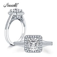 Wholesale square cut engagement rings resale online - AINUOSHI Trendy Sterling Silver CT Round Cut Halo Ring Engagement Simulated Diamond Wedding Silver Square Rings Jewelry Y200106