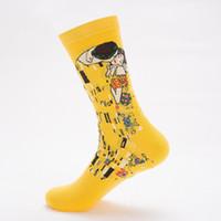 Wholesale black white oil art for sale - Group buy Male Socks Oil SockMural World Famous Painting Men Funny Art Dress Socks Color Men s Summer Set Print Van Gogh Art Socks