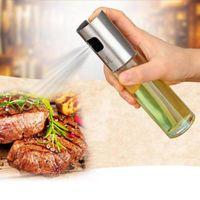 olla de vinagre al por mayor-Botella de spray de aceite de acero inoxidable Barbacoa Vinagre de agua Pulverizador Inyector de combustible Olla de vidrio para herramientas de cocina Accesorios