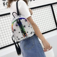 Wholesale new cell phones for girls resale online - 2019 Women s Summer New Sequins Stars Backpack Ribbon Colorful Laser Casual Back Bag Small School Bag for Teenage Girls Rucksack