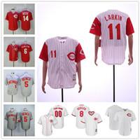 beyzbol formaları kırmızı toptan satış-Erkek Vintage Johnny Tezgah Forması Koleksiyonu Özel Cincinnati Yasiel Puig Reds Barry Larkin Dikişli Matt Kemp Retro Beyzbol Formalar