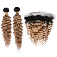 Wholesale honey brown hair weave online - Honey Blonde Ombre Deep Wave Bundles Indian Virgin Hair with Frontal Closure B Light Brown Ombre x4 Full Lace Frontal with Weaves