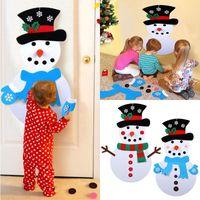 decoraciones de muñeco de nieve de navidad al por mayor-DIY fieltro regalos del muñeco de nieve Adornos de Navidad Año Nuevo puerta colgar de la pared Manual de la decoración de Navidad Niños Accesorios WX9-1589