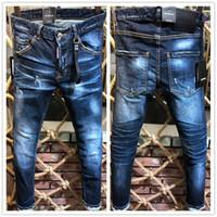 pantalones de skate al por mayor-Nueva Moda Casual D2 # 0230 Hombres Skinny Stretch Jeans Distressed Ripped Slim Fit Jeans Pantalones Skateboard Marca Hombres pantalones de mezclilla