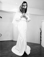 Wholesale amazing blue wedding dresses resale online - Long Sleeve Wedding Dresses Mermaid Amazing Button Vestidos De Noiva Bohemian Bridal Gowns France robe de mariee