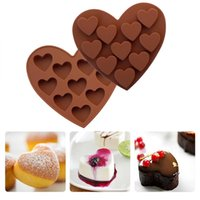 Wholesale 3d heart mould resale online - 10 Cavity Love Heart Shaped Silicone Moulds Cake Chocolate Mold Cookies Fondant Pastry Dessert D DIY Decorating Tools New