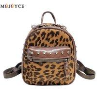 mochila remachada de leopardo al por mayor-Mochila de cuero de la Pu de las mujeres Remache Estampado de leopardo Pequeño Viaje Mini Tamaño Mochila Hombro Mochila Feminina