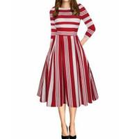 Wholesale striped dress pockets resale online - Women Striped Floral Print Dress Sleeve High Waist Round Neck Dress With Pockets Lady Ball Gown Long Dress LJJR289