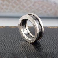 Wholesale black wedding ring resale online - Europe America Fashion Men Lady Women Titanium Steel Charity Version Engraved B Letter Black Ceramic K Gold Narrow Lovers Rings US5 US10