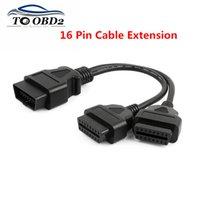 obd 16 großhandel-OBD II Kabel 16 Pin OBD 2 Splitter Adapter Verlängerungskabel Stecker auf Buchse OBD2 Extended Interface Line