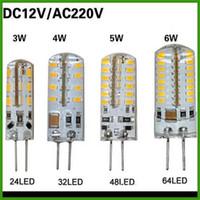 SMD 3014 G4 110V 4W 5W 6W LED Corn Crystal lamp light DC 12V   AC 220V LED Bulb Chandelier 24LED 32LED 48LED 64LEDs