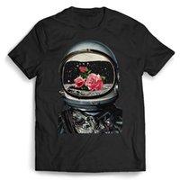 farbe rosen großhandel-Astronaut And Roses Männer T-Shirt Farbe Jersey Druck T Shirt Marke Shirts Jeans Druck