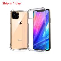 deckel galaxie as silikon großhandel-Für iPhone 11 Pro Max Hülle mit Einzelhandelsverpackung Durchsichtige TPU Stoßfest Schutzhülle Anti-Klopf-Hülle für iPhone XR XS 8