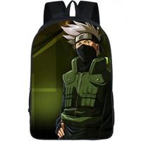 mochilas populares de desenhos animados venda por atacado-Hatake Kakashi mochila Naruto school bag Popular anime daypack Dos Desenhos Animados imprimir mochila Mochila Ao Ar Livre pacote de dia de Esporte