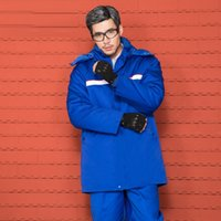 Wholesale safety clothing coat resale online - Work Clothes Winter Long Sleeve Thick Anti static Overall Suit Gas Station Reflective Strips Labor Safety Cotton Coat Customizab